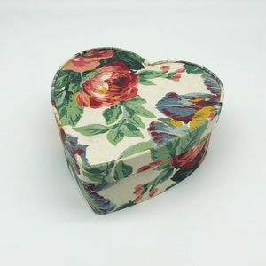 Vintage Fabric Covered Floral Heart Jewelry Box